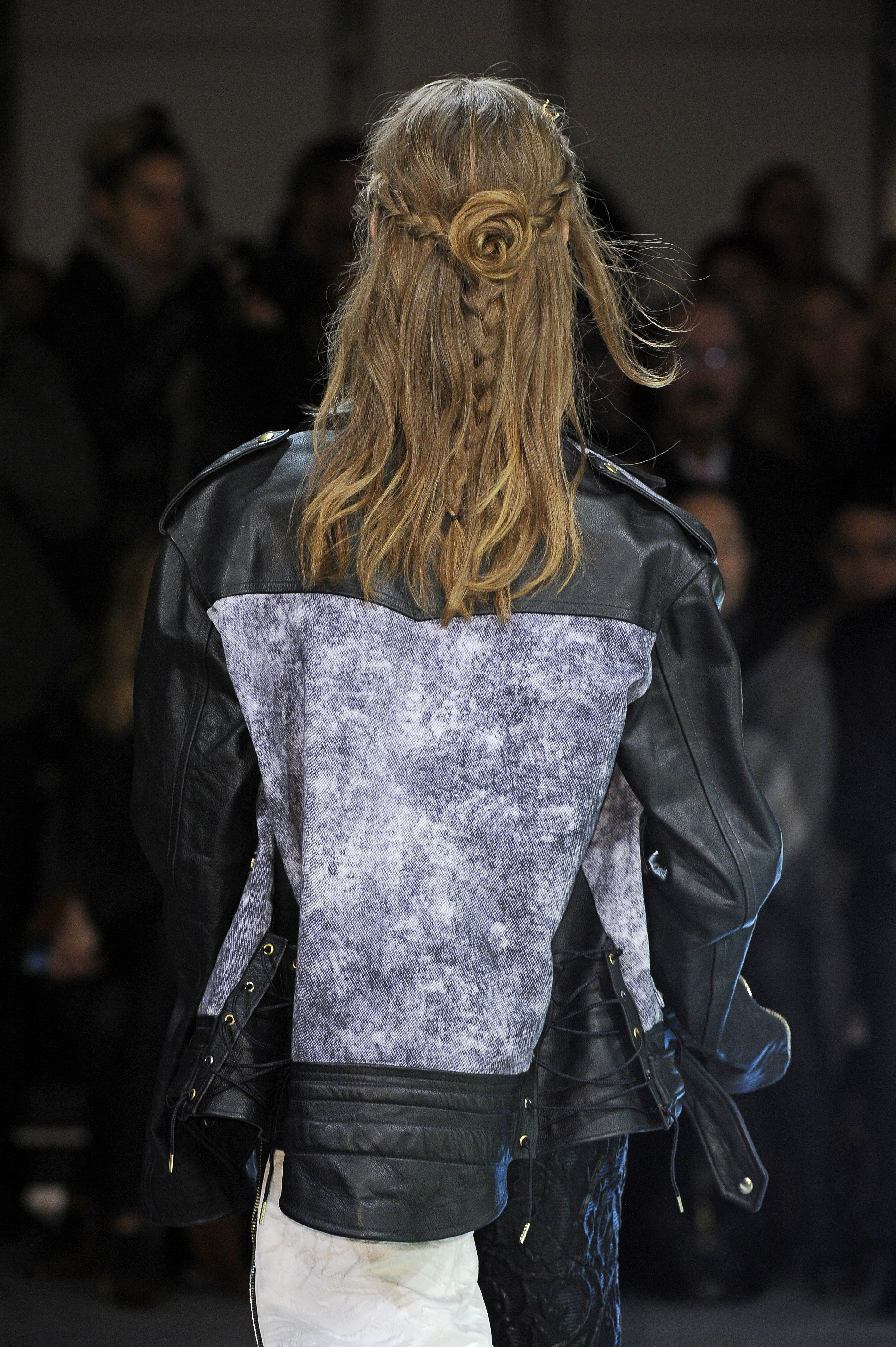 A rosette-shaped bun at Rodarte's Fall/Winter 2013 show at NYFW.