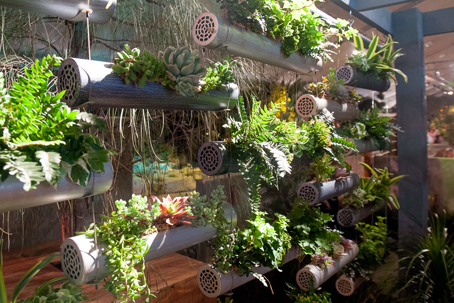 We enjoyed the installation's leafy multidimensionality, something we often miss with with vertical gardens.