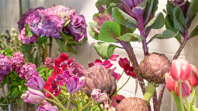 Tulips, hyacinth and lilies of the valley are always a big hit. But for the mom who lives for her edible garden, the shop can whip up a bouquet with some unlikely stunners...
