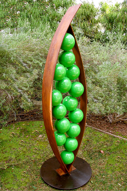 Snap Sculpture, weathered and powder coated steel, TerraSculpture