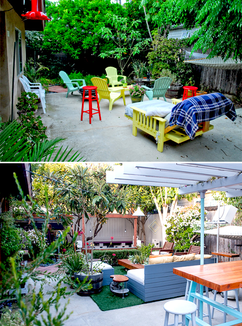 """Our front yard transformation. At top is the """"before"""" of 2009, and below it is the state of our garden today."""