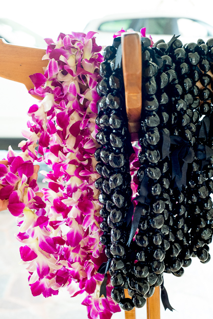 Lei and kukui nut necklace.