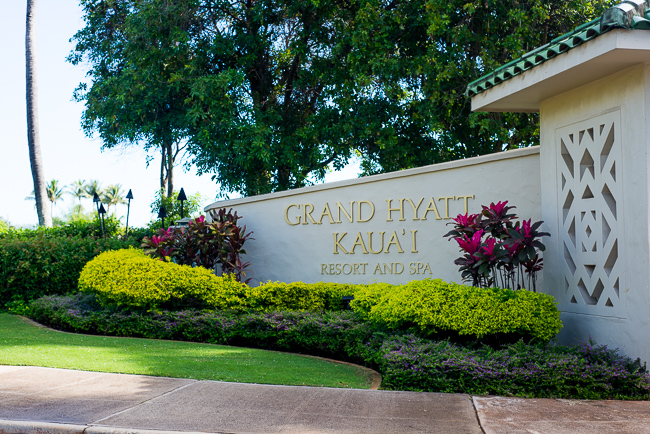 Entrance to Grand Hyatt Resort and Spa at Poipu Beach in Kaua'i