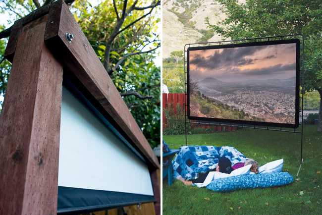 There are several options for screens. We built a hideaway for our $100 pull-down screen. Other portable options are readily available. The screen on right is from Camp Chef at $200. You could also project onto the side of your house for $0.00!