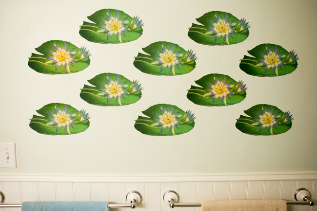 Water lilies vintage botanical wall decals.