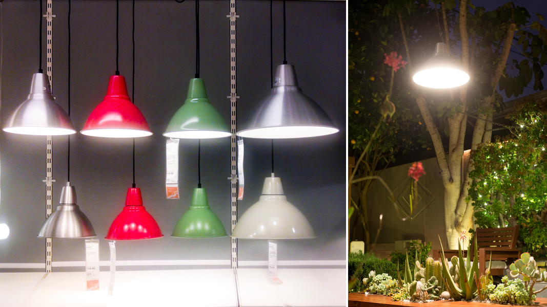 Garden lighting idea this ikea pendant lamp survives the for Modern chandeliers ikea