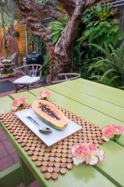 Stick flowers between picnic table slats for an impromptu centerpiece.