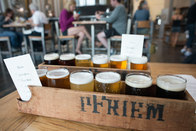 The sampler at PFriem Family Brewers, Hood River Oregon