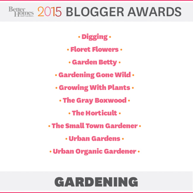 2015 Blogger Awards - Gardening