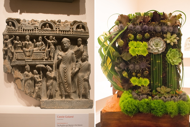 """Cassie Goland — floral interpretation of """"The Buddha and Nanda in the Heaven of the Thrity-three Gods."""""""
