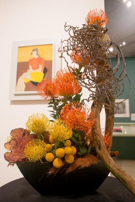 "Carvill Veech of Crown Garden Club of Coronado - Floral Interpretation of ""Pensive Girl"" by Milton Avery."