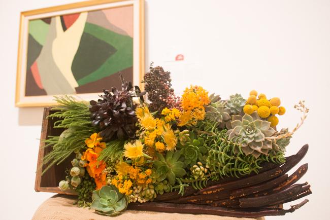 "Erin Kluzak of Flowers By Erin — floral interpretation of ""Formation I"" by Arthur Garfield Dove."