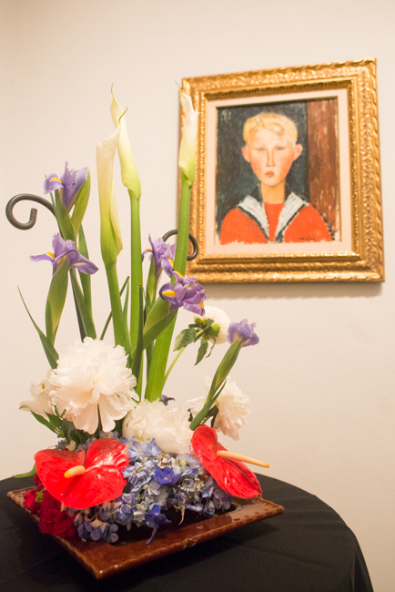"""Betty Patterson Del Sol of Mira Costa College — floral interpretation of """"The Blue-eyed Boy"""" by Amedeo Modigliani."""