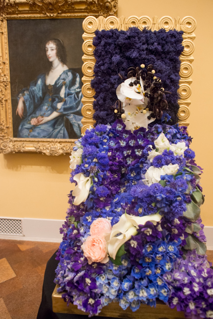 "Jennifer Cole of Jennifer Cole Florals — floral interpretation of ""Queen Henrietta Maria of England"" by Anthony van Dyck."