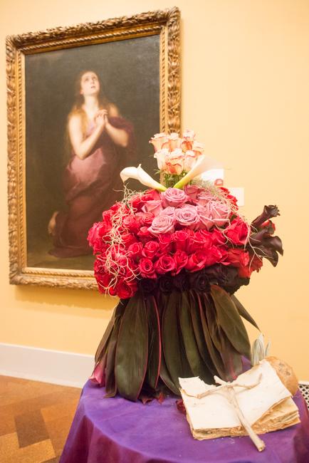 "Shabnam Miglani of The Village Garden Club of La Jolla — floral interpretation of ""Mary Magdalene"" by Bartolome Esteban Murillo."