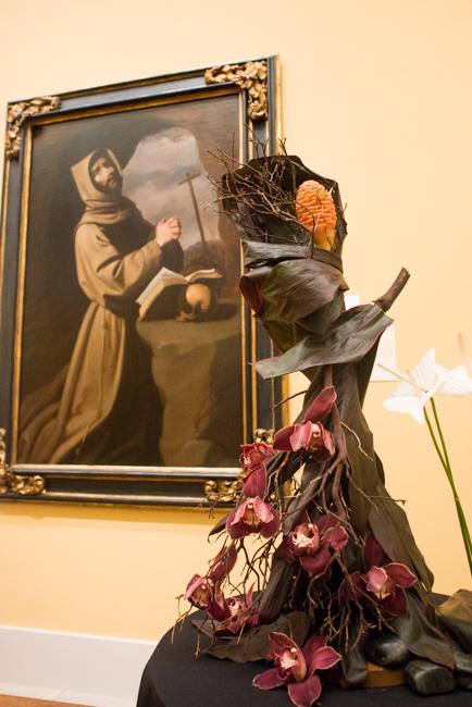 "Richelle Pittman-Kiyabu of Petals & Proposals — floral interpretation of ""Saint Francis in Prayer in a Grotto"" by Francisco de Zurbaran."
