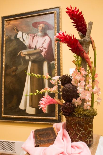 "Marilyn Pavel of Point Loma Garden Club — floral interpretation of ""Saint Jerome"" by Francisco de Zurbaran."