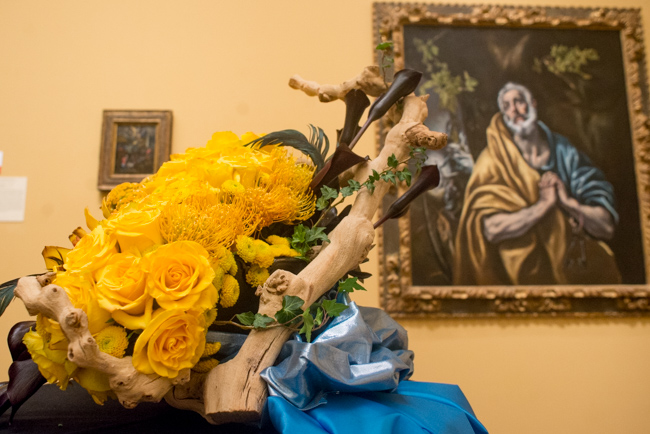 """Patty Roberts of Mission Bay Floral Design — floral interpretation of """"The Penitent Saint Peter"""" by El Greco (Domenikos Theotokopoulos)."""