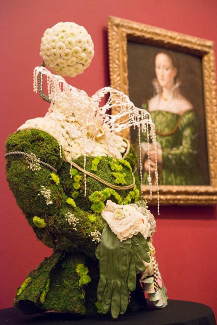"Dagmar Miller of Grossmont Mt. Helix Improvement Association — floral interpretation of ""Portrait of a Lady"" by Alessandro Allori."