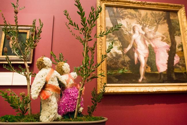 "Jackie Zhang of Sakura Ikebana Group of the Ohara School — floral interpretation of ""Apollo and Daphne"" by Veronese (Paolo Caliari)."