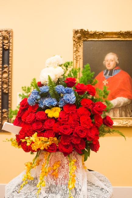 "Mary Le of Ohara School of Ikebana, San Diego Chapter — floral interpretation of ""Etienne-René, Cardinal Potier de Gesvres"" by Pompeo Girolamo Batoni."