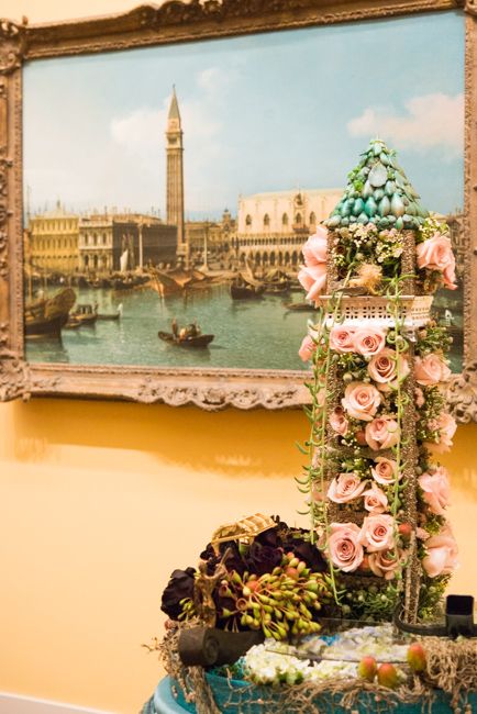 """Jamie Kales of Jamie Wynne Floral — floral interpretation of """"The Molo from the Basin of San Marco, Venice"""" by Canaletto (Giovanni Antonio Canal)."""