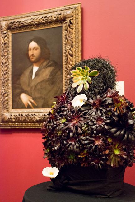 """Marilyn M. Williams, Bridge & Bay Garden -Club of Coronado -- Floral interpretation of """"Portrait of a Man"""" by Sebastiano del Piombo"""